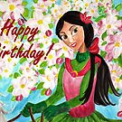 Princess Riding Birthday Card by EuniceWilkie