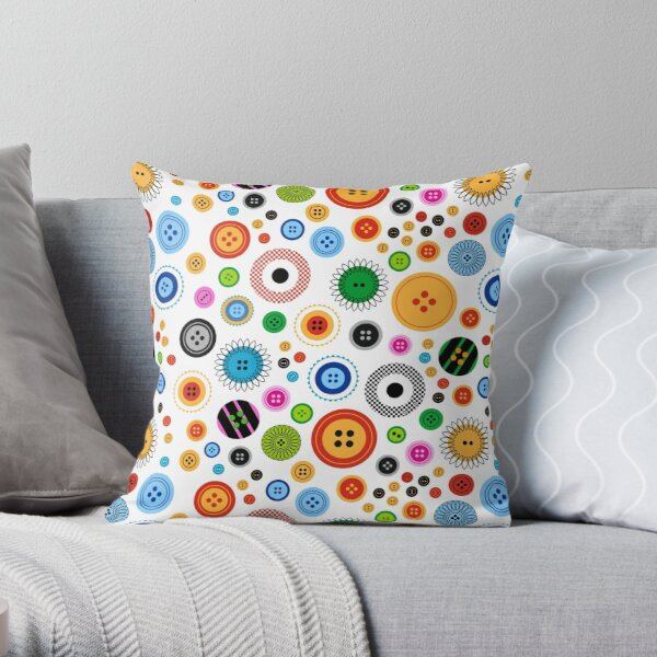 Buttons on White Throw Pillow