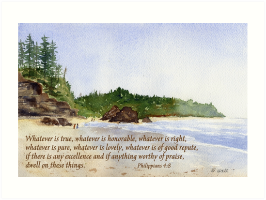 'The Peaceful Choice - Philippians 4:8' Art Print by Diane Hall