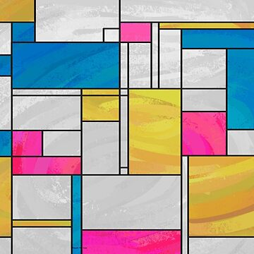 Classic Mondrian Yellow Pink Blue  by ImagineThatNYC