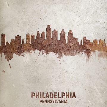 Philadelphia Pennsylvania Rust Skyline by ArtPrints