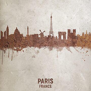 Paris France Rust Skyline by ArtPrints
