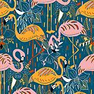 Flamingos On Blue  by TigaTiga