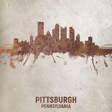 Pittsburgh Pennsylvania Rust Skyline by ArtPrints