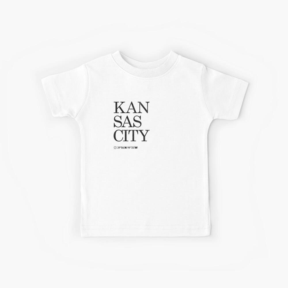 Kansas City Koordinaten Artwork Länge und Breite Kinder T-Shirt