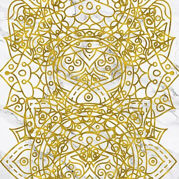 Golden Ornamental Mandala on White Marble by cadinera