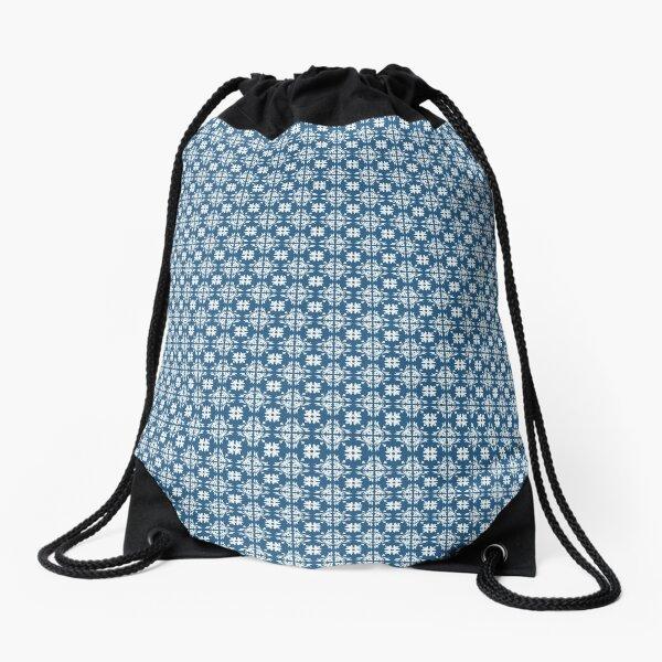 French Blue and White Circle Pattern Drawstring Bag