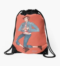 denim delinquent Drawstring Bag