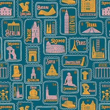 Posthaste! Fall in love with dreamy European capitals illustrated on vintage stamps by ZirkusDesign