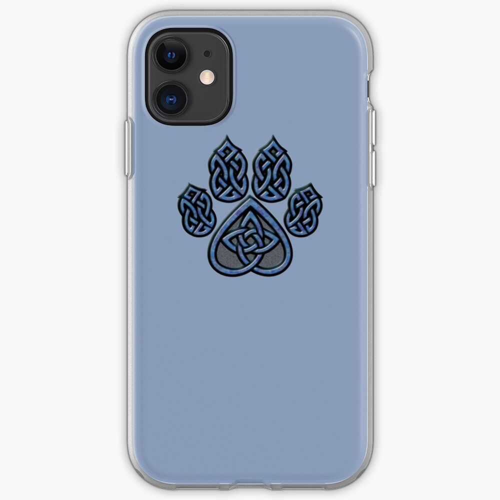 Celtic Knot Pawprint - Blue iPhone Case & Cover