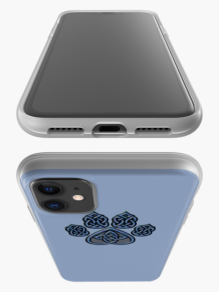 Alternate view of Celtic Knot Pawprint - Blue iPhone Case & Cover