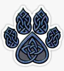 Celtic Knot Pawprint - Blue Sticker