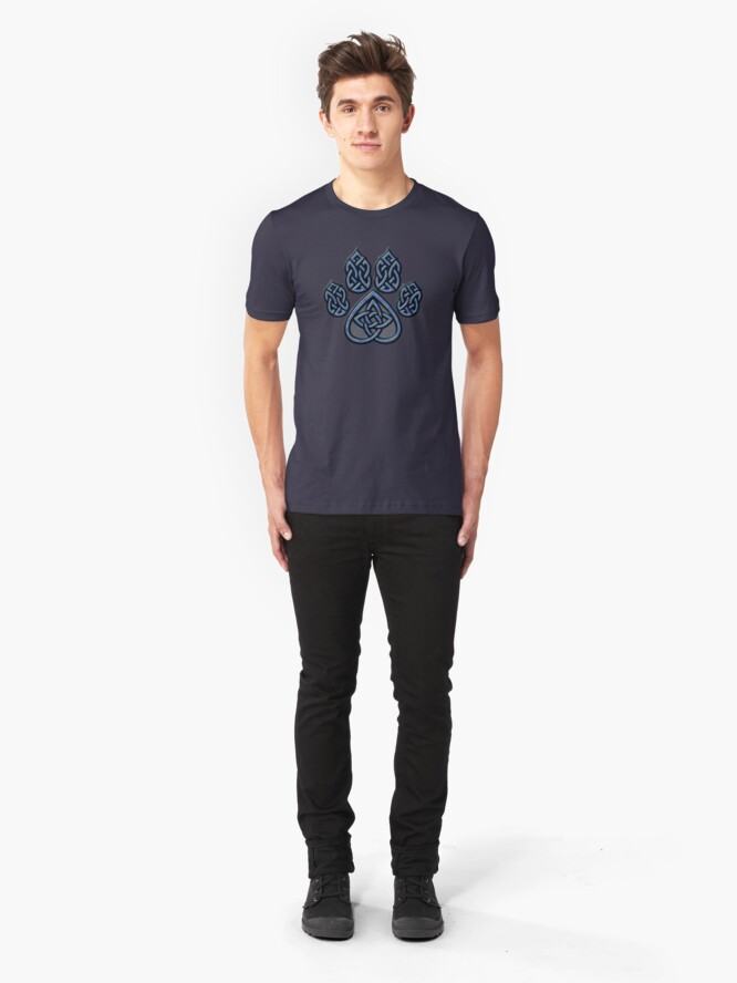 Alternate view of Celtic Knot Pawprint - Blue Slim Fit T-Shirt