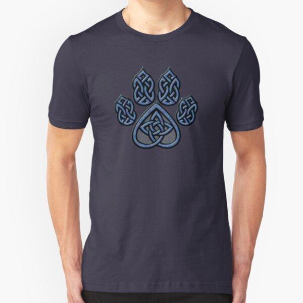 Celtic Knot Pawprint - Blue Slim Fit T-Shirt