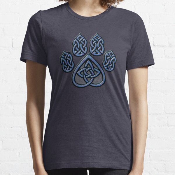 Celtic Knot Pawprint - Blue Essential T-Shirt