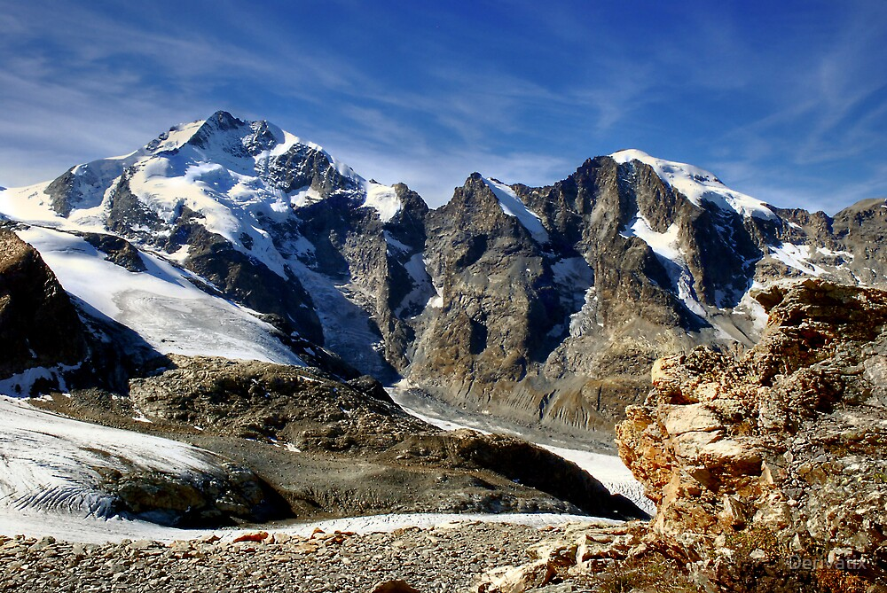Piz Bernina with famous Biancograt by Derivatix