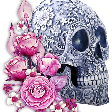 Unique Cool Blue Floral Pink Flowers Skull by Atteestude