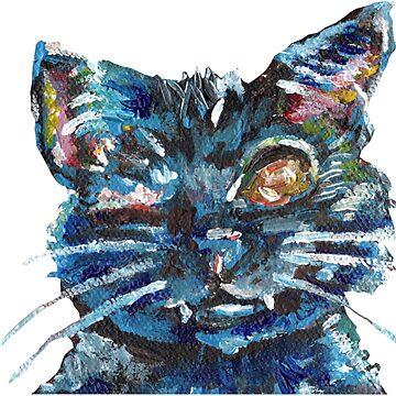 Cute Impressionist Black Cat Design w/o Background by KLoganArt