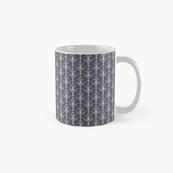 Fleur de Lis Purple & Green Pattern Classic Mug