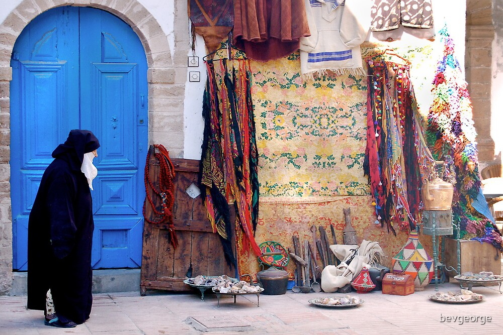 Old Woman with Blue Door, Souk, Essaouira by bevgeorge