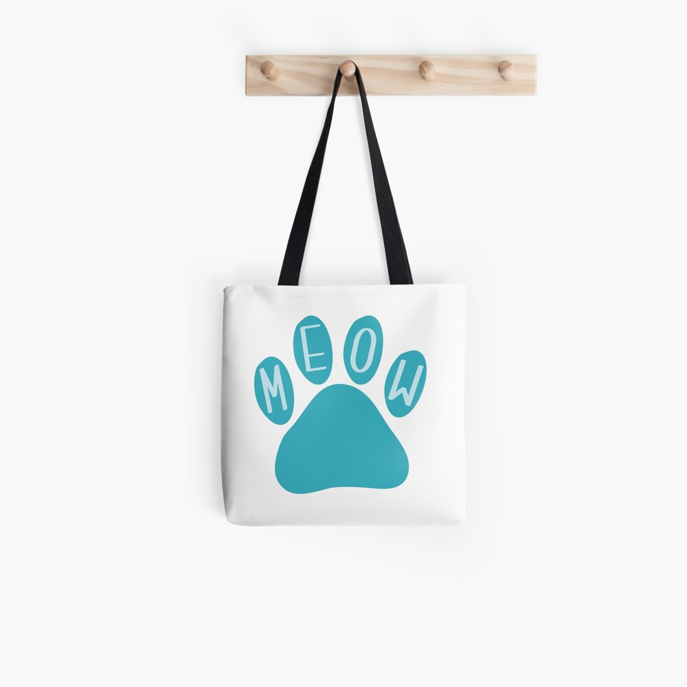 Cat Paw Meow Teal Tote Bag
