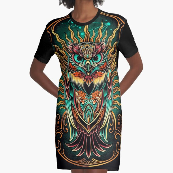 Owl - The Watcher Graphic T-Shirt Dress