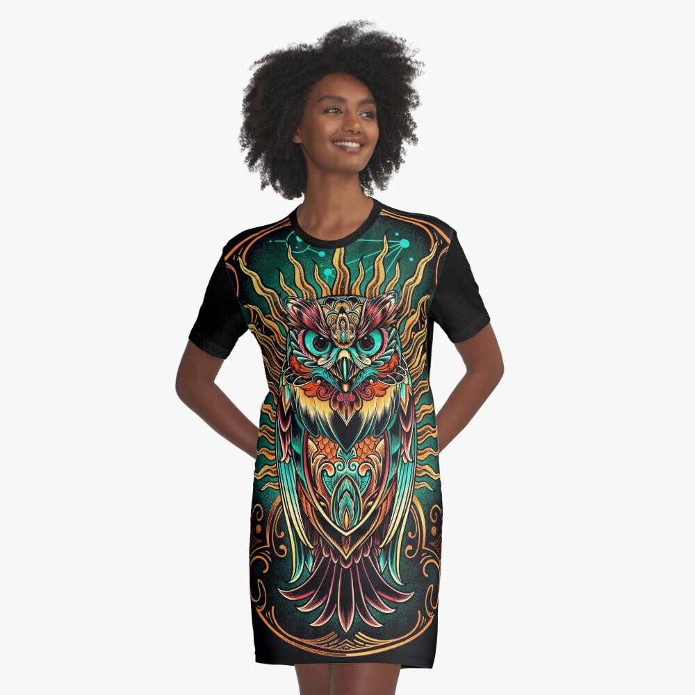 Owl - The Watcher Graphic T-Shirt Dress