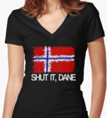 """""""Shut it, Dane"""" [APH Norway] Women's Fitted V-Neck T-Shirt"""