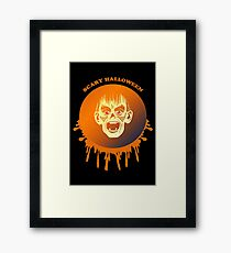 halloween red moon monster Framed Print