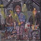 Lunch Conversation at the 2000ft level Underground   acrylic on canvas 24x24 by eoconnor