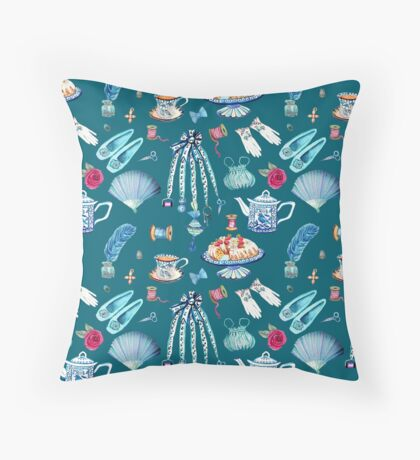 Jane Austen favourite things and daily objects in watercolor Throw Pillow