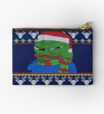 Smug Apu Apustaja Christmas Card Rare Pepe the frog PepeTheFrog knitted deer patterns, with Santa Claus Hat and winter scarf HD HIGH QUALITY Studio Pouch