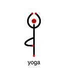 Stick figure of tree yoga pose with yoga text. by Mindful-Designs