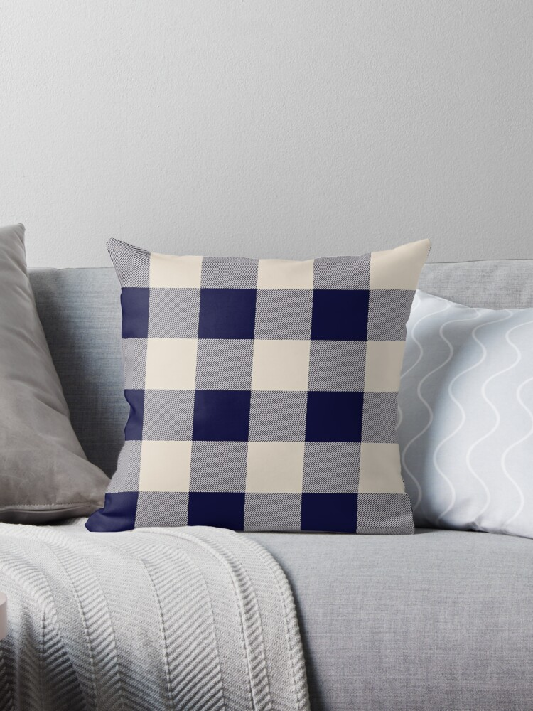 Pleasing Buffalo Check Navy Blue And Vintage White Plaid Wide Stripes Throw Pillow By Rewstudio Ibusinesslaw Wood Chair Design Ideas Ibusinesslaworg