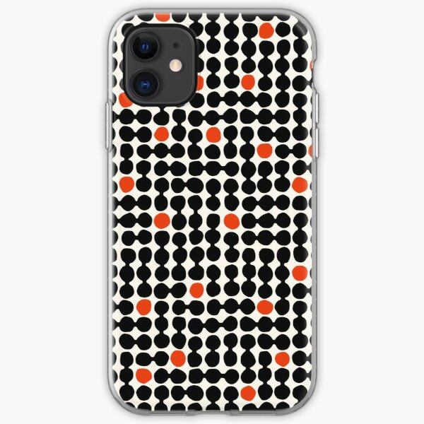 Small Pebbles: modern bauhaus in simple red, black and cream iPhone Soft Case