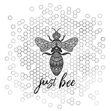 Just Bee - Black Geometric Zen Bee Meditating over Honeycomb Hive by jitterfly
