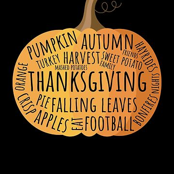 Vintage Thanksgiving Words Pumpkin Tshirt Thanksgiving Shirt by davdmark