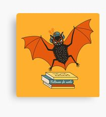 Bat granny in the library  Canvas Print