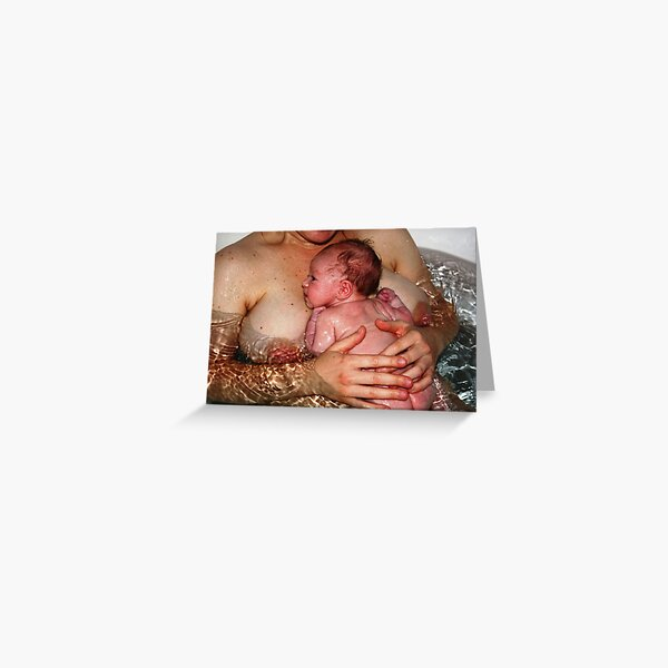 Infant and mother in bath Greeting Card