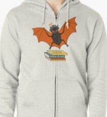 Bat granny in the library  Zipped Hoodie