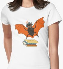 Bat granny in the library  Women's Fitted T-Shirt