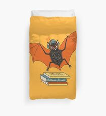 Bat granny in the library  Duvet Cover
