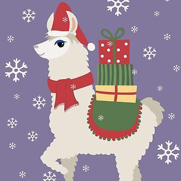 Cute Christmas Llama by ValentinaHramov