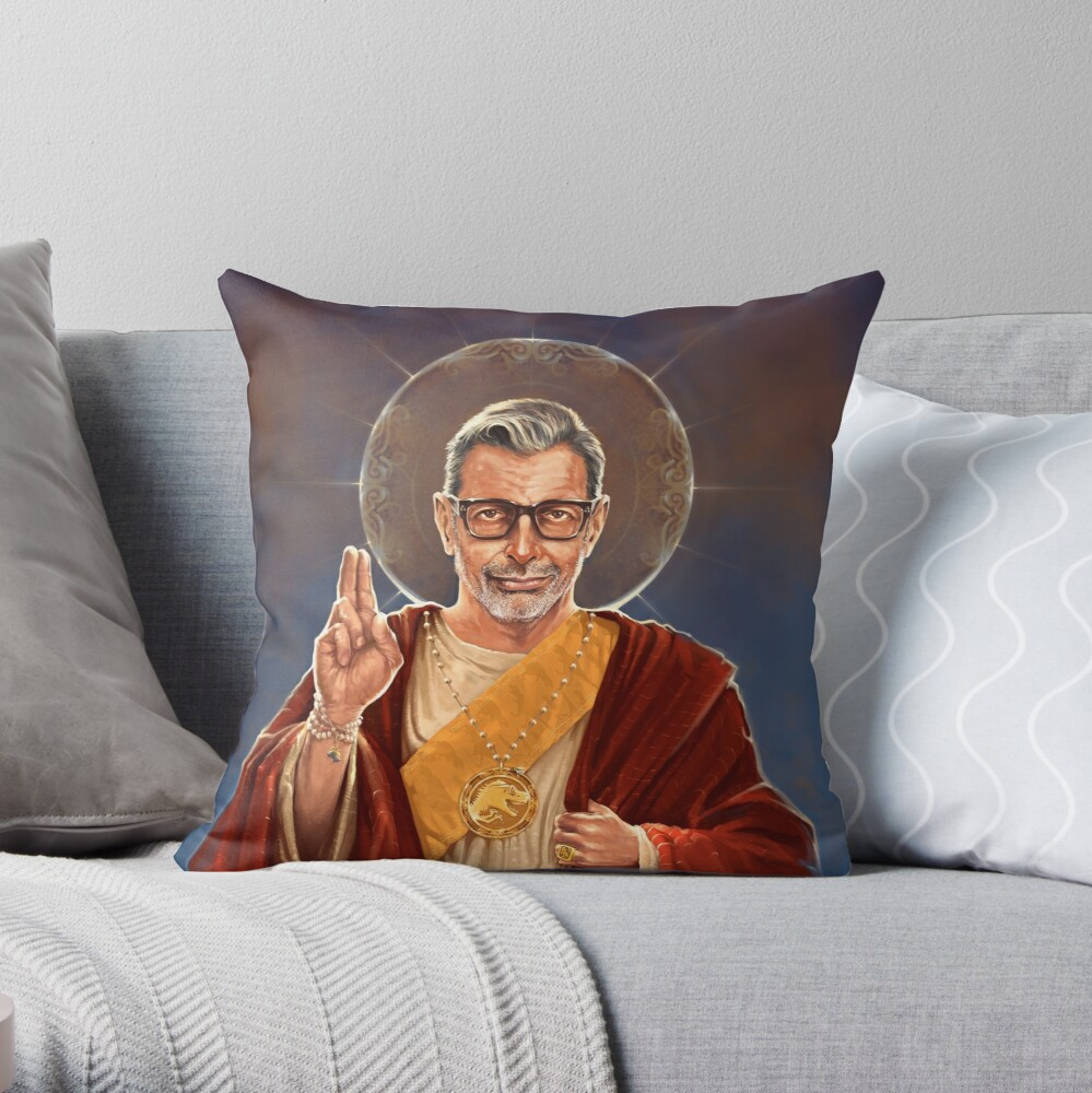 Saint Jeff of Goldblum - Jeff Goldblum Original Religious Painting Throw Pillow