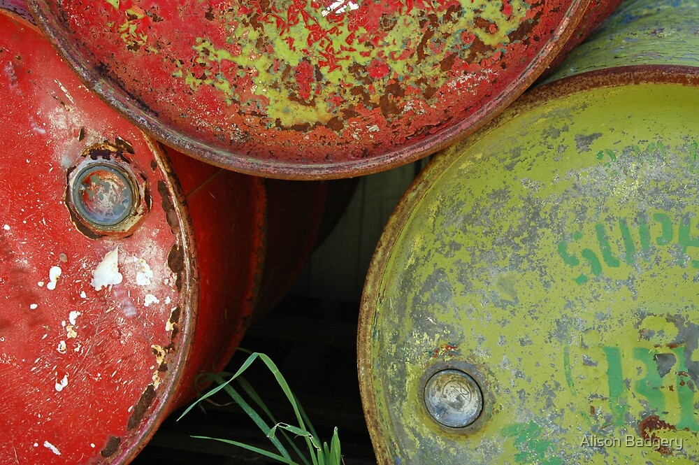 Vintage Oil Drums, antique yard in SA by Alison Badgery