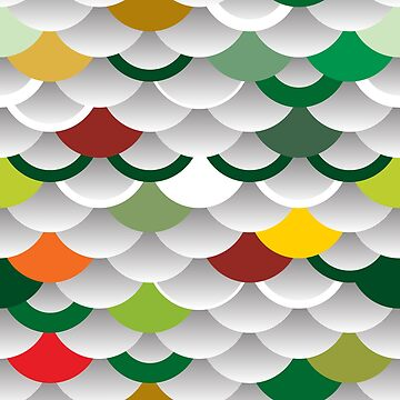 Seigaiha or seigainami literally means wave of the sea. scales simple Nature background with japanese circle pattern white green orange red grey colors by EkaterinaP