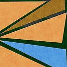 Retro Geometrical Triangles in Orange Warm Colors and Blue by ibadishi