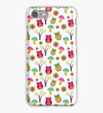 Cute colorful vintage owls floral pattern iPhone Case/Skin