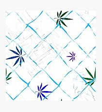 Colorful Marijuana Leaves, Grid and Scratches Photographic Print