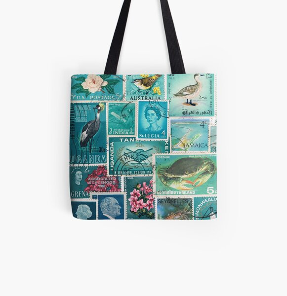 Ocean Deep - Postage Stamp Collage All Over Print Tote Bag